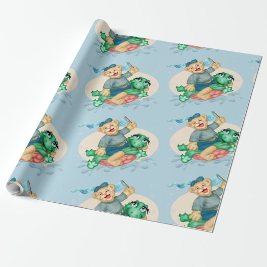 "BEAR TURTLE 30"" x 30'    CARTOON Wrapping Paper"