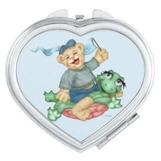 BEAR TURTLE CARTOON compact mirror HEART