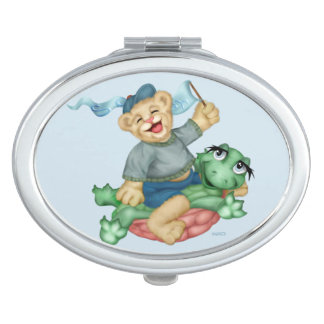 BEAR TURTLE CARTOON compact mirror OVAL