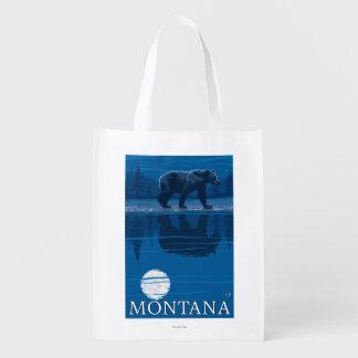 Bear Walking in Moonlight Vintage Travel Grocery Bags