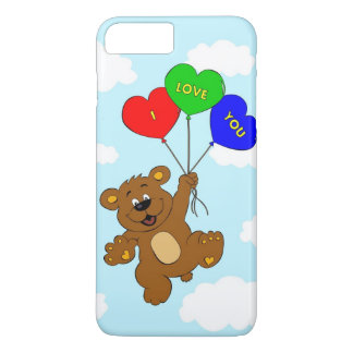 Bear with balloons in love cartoon kids iPhone 7 plus case