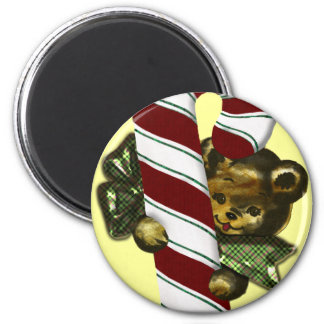 Bear with candy cane 2 inch round magnet