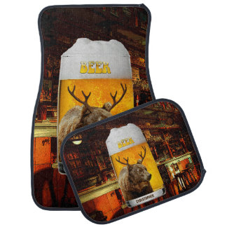 Bear With Deer Horns Beer Mug Pub Owner Cool Funny Car Mat
