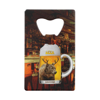 Bear With Deer Horns Beer Mug Pub Owner Cool Funny Credit Card Bottle Opener