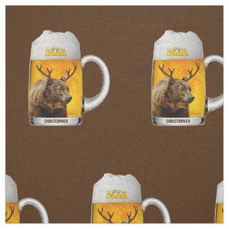 Bear With Deer Horns Beer Mug Pub Owner Cool Funny Fabric