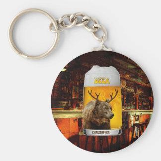 Bear With Deer Horns Beer Mug Pub Owner Cool Funny Keychain