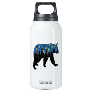 bear with fireflies insulated water bottle