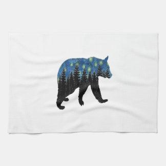 bear with fireflies kitchen towel