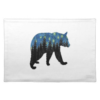 bear with fireflies placemat