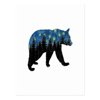 bear with fireflies postcard