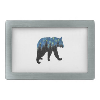 bear with fireflies rectangular belt buckles