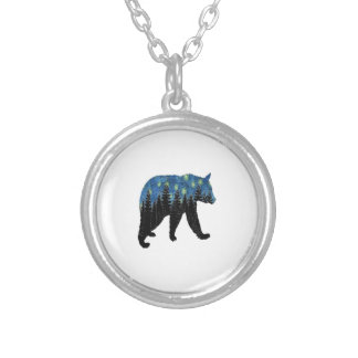 bear with fireflies silver plated necklace