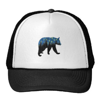 bear with fireflies trucker hat