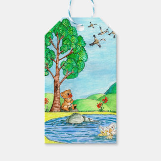 """""""Bear with Flowers"""" Gift Tag"""
