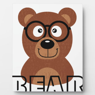 Bear with glasses plaque