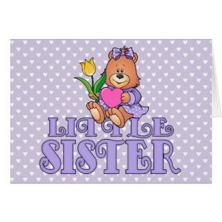 Bear with Heart Little Sister Note Card