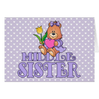 Bear with Heart Middle Sister Note Card