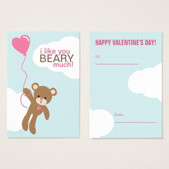 Bear with Heart Shaped Balloon Valentines Business Card