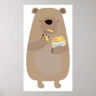 Bear with Honey jar Poster