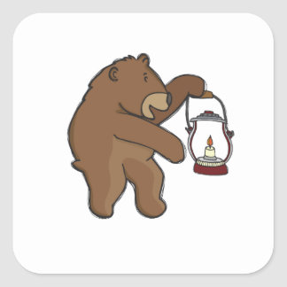 Bear With Lantern Square Sticker