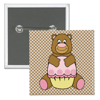Bear With Pink Cupcake Brown Plaid Button