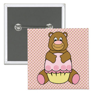Bear With Pink Cupcake Dots Button