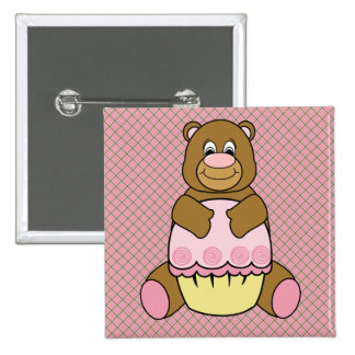 Bear With Pink Cupcake Pink Waffle Cone Button