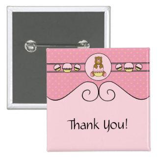 Bear With Pink Cupcake Swirls Button