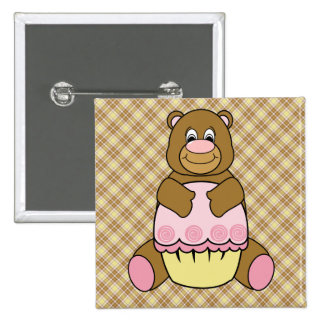 Bear With Pink Cupcake Vanilla Plaid Button