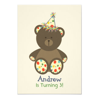 "Bear With Polka Dot Birthday Hat Boy's Party 5"" X 7"" Invitation Card"