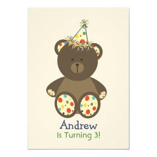 "Bear With Polka Dot Birthday Hat Boy's Party 5"" X 7"" Invitation Card"