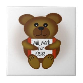 Bear with Sign Ceramic Tiles