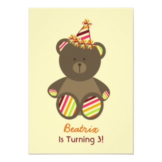 """Bear With Striped Birthday Hat Girl's Party 5"""" X 7"""" Invitation Card"""