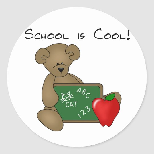Bear with Writing Board School is Cool Classic Round Sticker