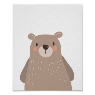 Bear Woodland Animal Nursery Wall Art Print