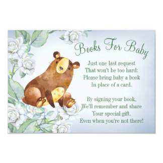 Bear Woodland Baby Shower Book Card Bring A Book