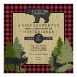 "Bear Woodland Forest Lumberjack Plaid Baby Shower 5.25"" Square Invitation Card"
