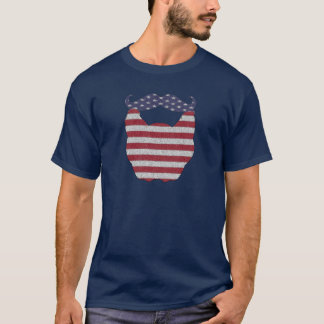 Beard and Mustache American Flag T-Shirt
