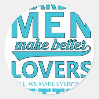 beard men makes better lovers classic round sticker