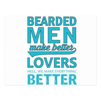 beard men makes better lovers postcard