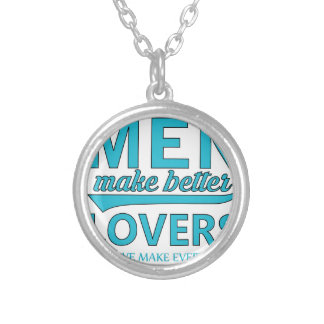 beard men makes better lovers silver plated necklace