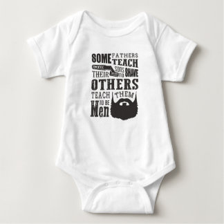 Beard, some father teach to shave others to be a m baby bodysuit