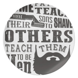 Beard, some father teach to shave others to be a m dinner plate