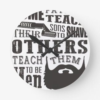 Beard, some father teach to shave others to be a m wall clock