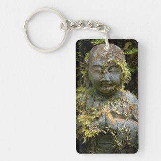 Bearded Buddha Statue Garden Nature Photography Double-Sided Rectangular Acrylic Keychain