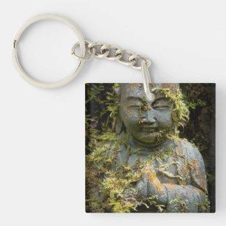 Bearded Buddha Statue Garden Nature Photography Double-Sided Square Acrylic Keychain