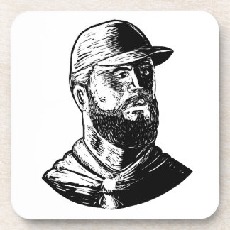 Bearded Chef Scratchboard Coaster