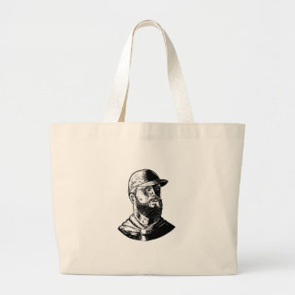 Bearded Chef Scratchboard Large Tote Bag