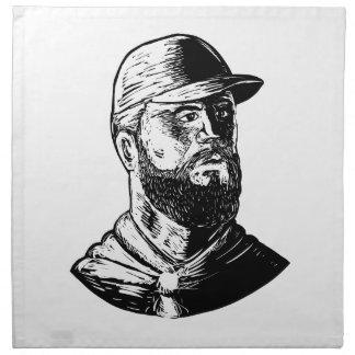 Bearded Chef Scratchboard Napkin