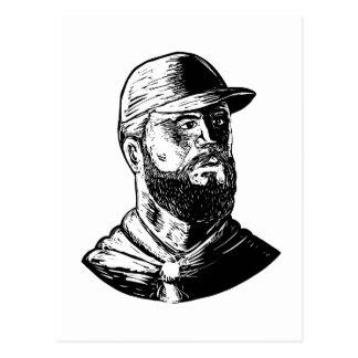 Bearded Chef Scratchboard Postcard